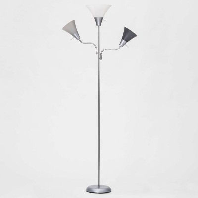 Torchiere with Two Task Lights Floor Lamp Silver with Multi Gray Shades (Lamp Only)– - Room Essentials™