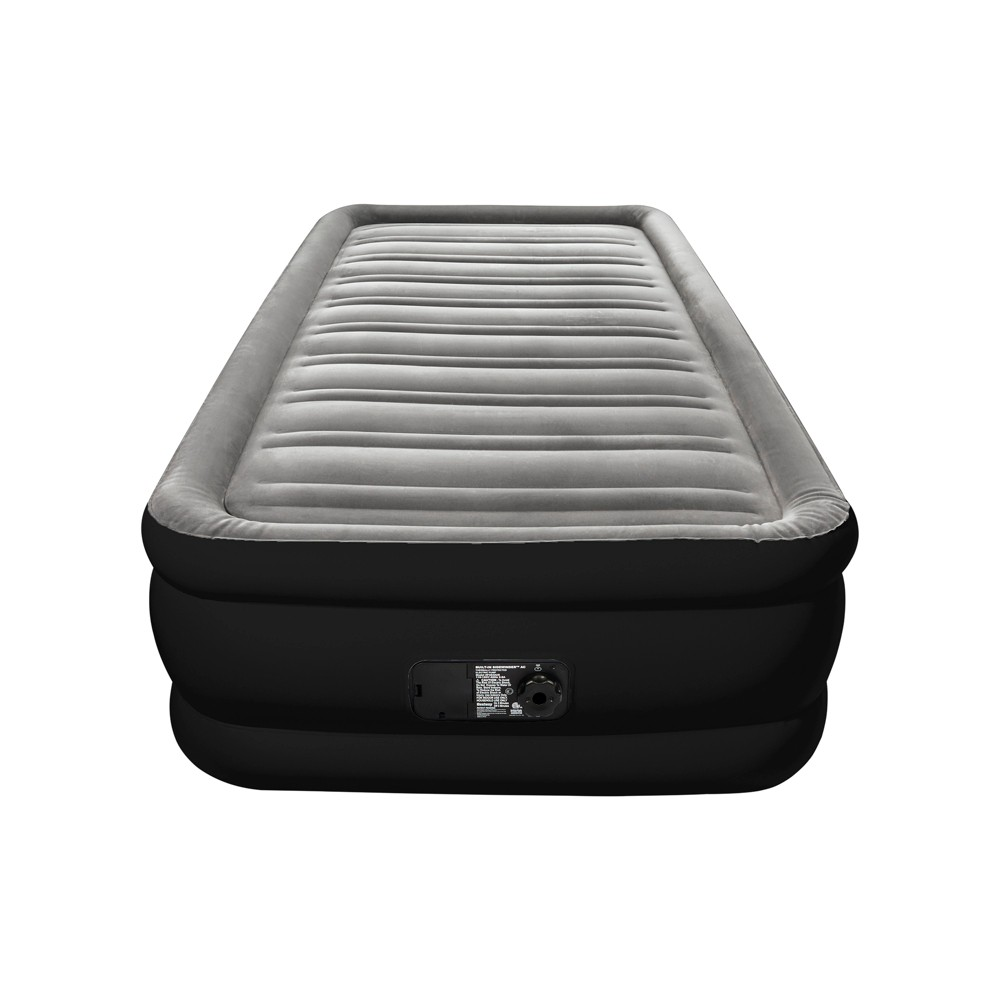 Double High Twin Air Mattress with Built-In Pump - Embark, Dark Grey The Embark Twin Raised Airbed with Pump is made with I-beam construction and a comfortable flocked sleeping surface. This 17 inch tall twin sized airbed provides the comfort and quality you need for a good night's sleep. It's a great choice for on the go needs at home. A built in AC air pump is included to provide a quick one touch inflation and deflation of the bed. After use, the Embark Twin Raised Airbed can be quickly deflated and placed in the included carry bag for easy transport and storage. Color: Dark Grey. Gender: Unisex.