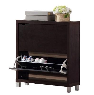 Simms Modern Shoe Cabinet Dark Brown - Baxton Studio