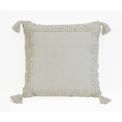 LISBURN Chenille Tassel Pillow Ivory - Décor Therapy