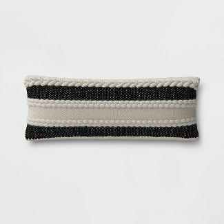 Stripe Outdoor Lumbar Decorative Pillow Black - Threshold™