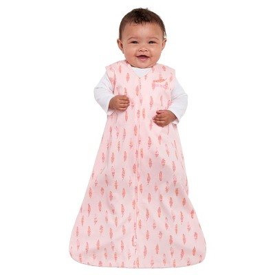 HALO Innovations Sleepsack 100% Cotton Wearable Blanket - Pink Feathers S