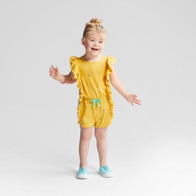 Toddler Girls' Romper - Cat & Jack™ Yellow Beet 12M