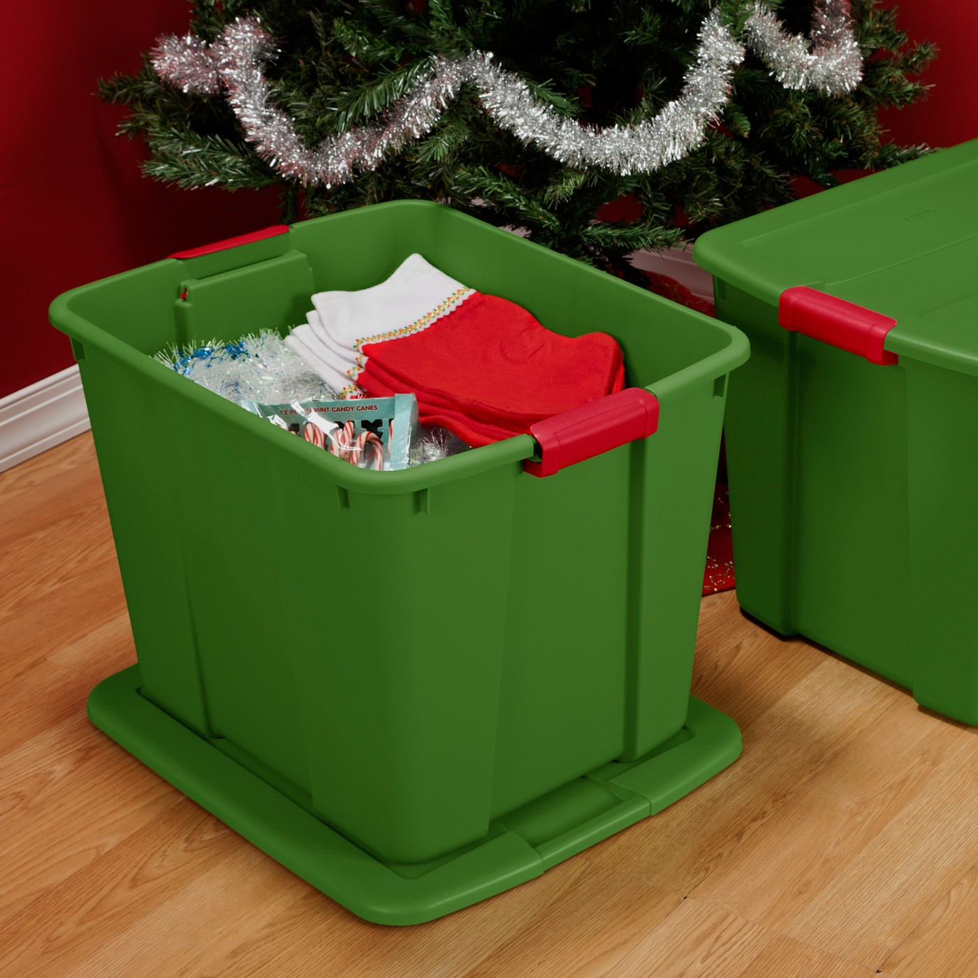 Sterilite 20gal Tote - Green with Green Lid and Red Latches - image 4 of 5