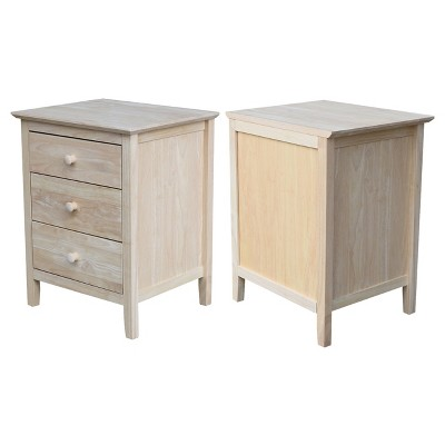 Smith Nightstand With 3 Drawers - Unfinished - International Concepts : Target