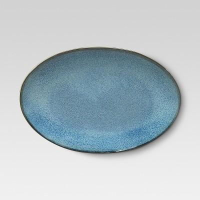Belmont Round Serving Platter 12.5x9in Stoneware Blue - Threshold™