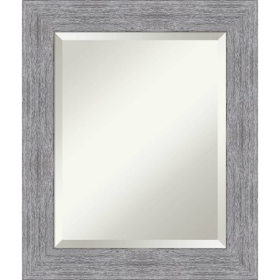 Bark Rustic Framed Bathroom Vanity Wall Mirror Gray - Amanti Art