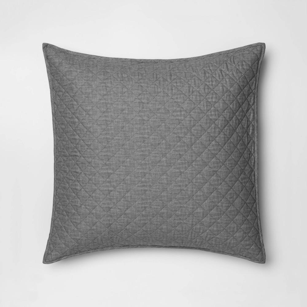 Euro Family Friendly Solid Pillow Sham Gray - Threshold