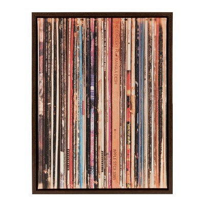 """18"""" x 24"""" Sylvie Records Framed Canvas by Robert Cadloff Walnut Brown - Kate and Laurel"""