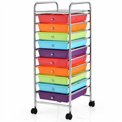 Costway 10 Drawer Rolling Storage Cart Scrapbook Office School Organizer Multicolor