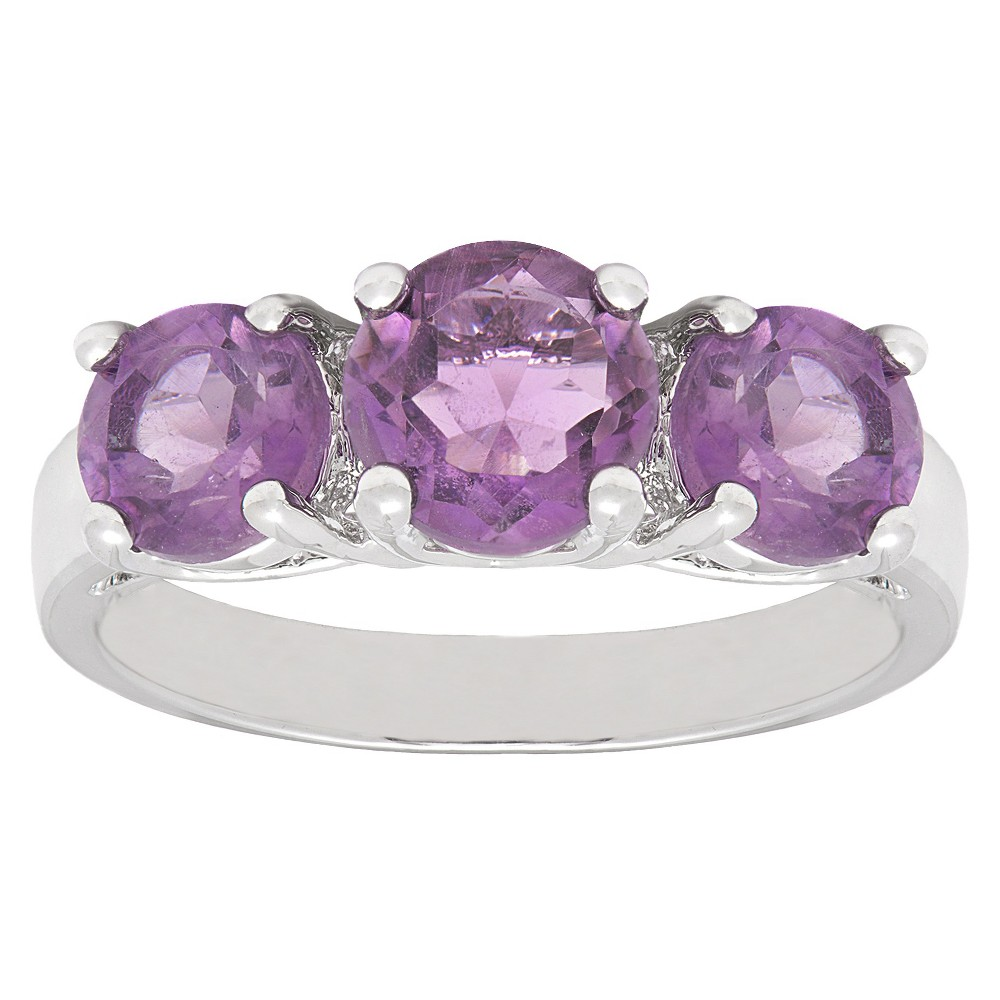 2.25 CT.T.W. Round-Cut Amethyst 3-Stone Prong Set Ring Silver Plated (Size 7), Women's, Purple