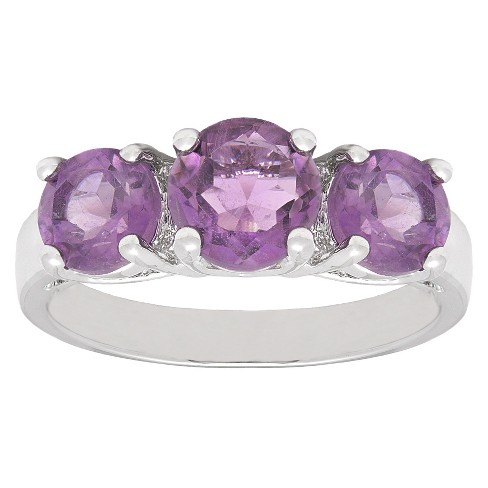 2.25 CT.T.W. Round-Cut Amethyst 3-Stone Prong Set Ring Silver Plated - image 1 of 1