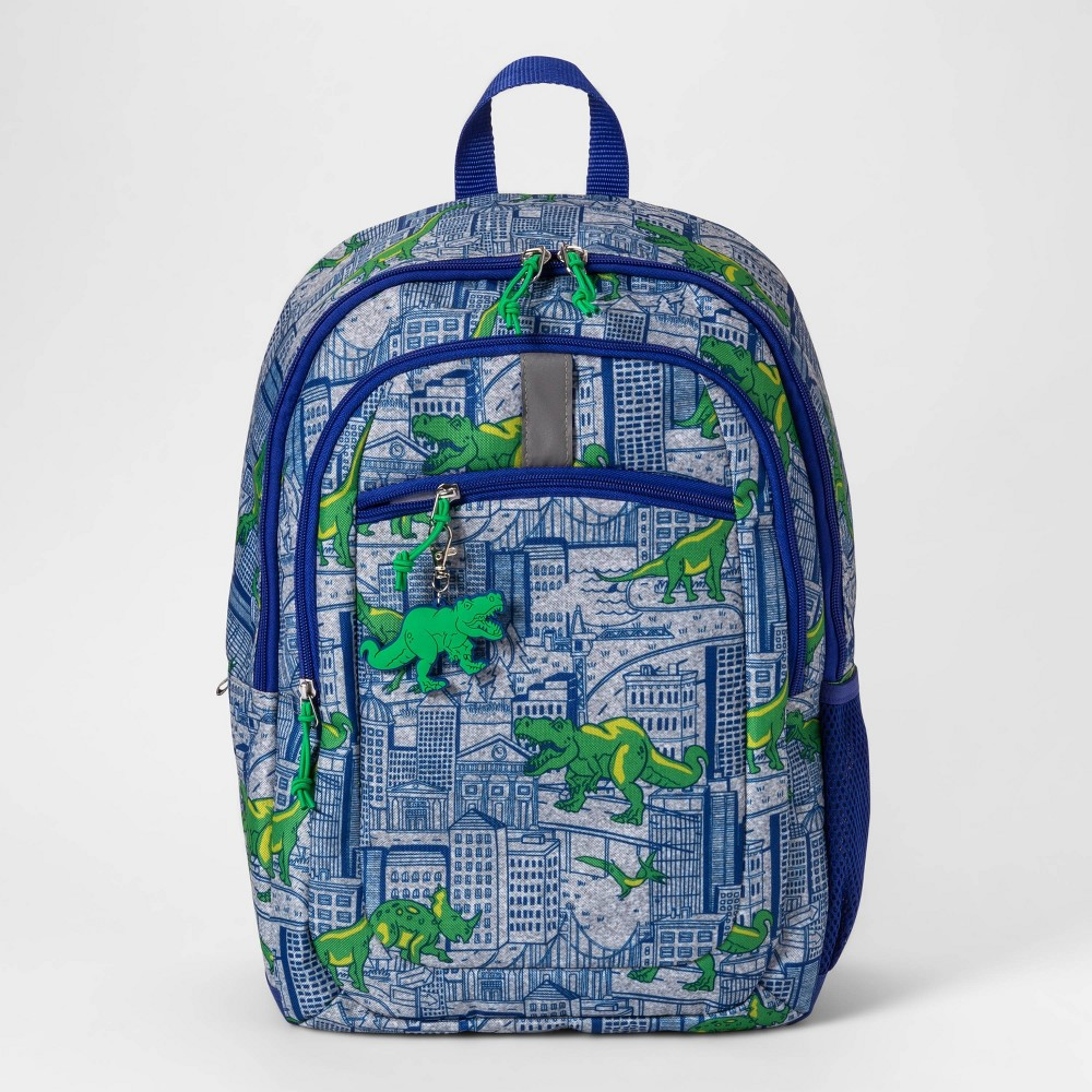 """Image of """"17"""""""" Dino Kids' Backpack Blue/Green - Cat & Jack , Boy's, Size: Small, Blue Gray"""""""