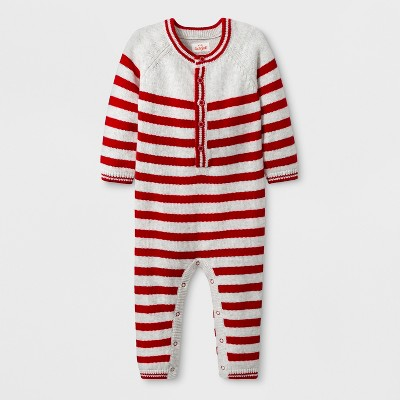 Baby Holiday Sweater Stripe Romper - Cat & Jack™ Red 0-3M