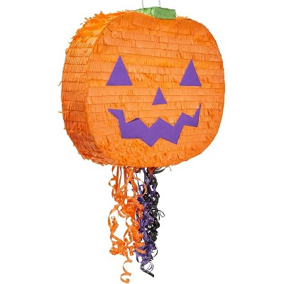 Spooky Central Small Pumpkin Pinata for Halloween Party, Pull String (16.5 x 13 x 3 In)