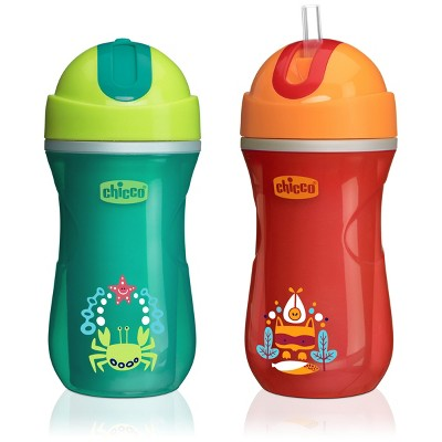 Chicco 2pk NaturalFit Insulated Flip Top Straw Cup 9oz - Green/Orange