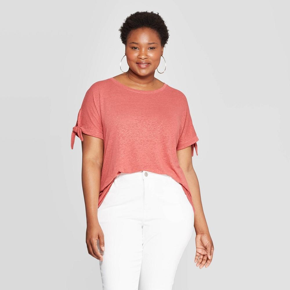 d9995eb4b9b5f Womens Plus Size Linen Tie Short Sleeve Crewneck T Shirt Ava Viv Blush X