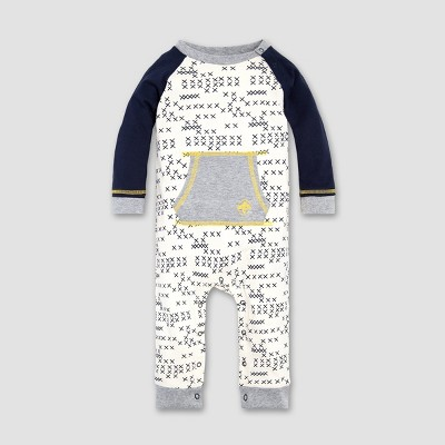 Burt's Bees Baby® Baby Boys' Cross Stitched Raglan Coverall - Eggshell 6-9M