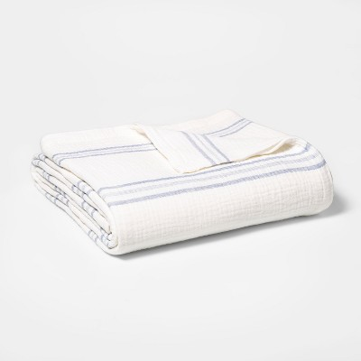 King Striped Gauze Bed Blanket White/Blue - Threshold™