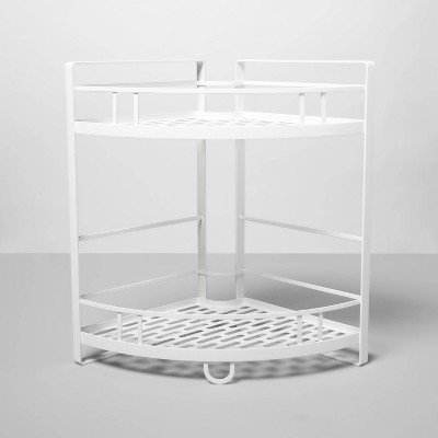 Punched Metal 2-Tier Corner Shelf - Made By Design™