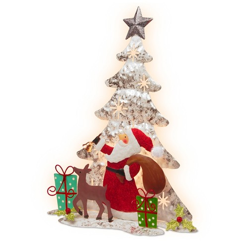 16 novelty silhouette lights white wire single sided christmas tree with santa deer