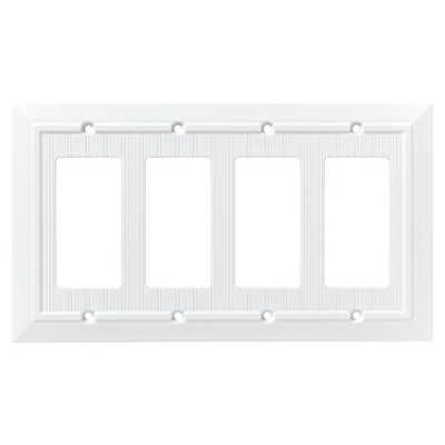 Franklin Brass Classic Beadboard Quad Decorator Wall Plate White