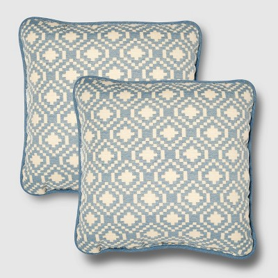 Rolston 2pk Outdoor Throw Pillow Niagara Blue Geometric - Haven Way
