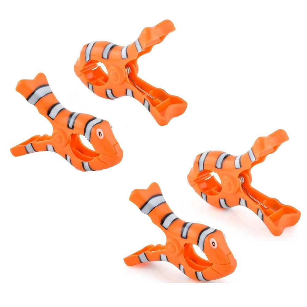 4pc Clown Fish Towel Clips Orange O2cool
