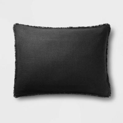 Standard Heavyweight Linen Blend Pillow Sham Washed Black - Casaluna™
