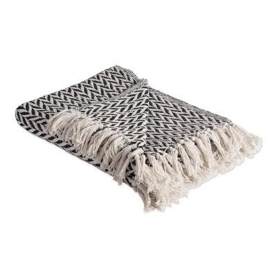 Zig-Zag Throw Blanket Black - Design Imports