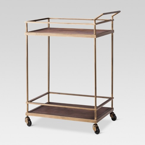 Wood & Gold Finish Bar Cart - Threshold™ - image 1 of 4