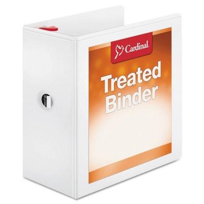 "Cardinal Treated Binder ClearVue Locking Slant-D Ring Binder, 5"" Cap, 11 x 8 1/2, White"