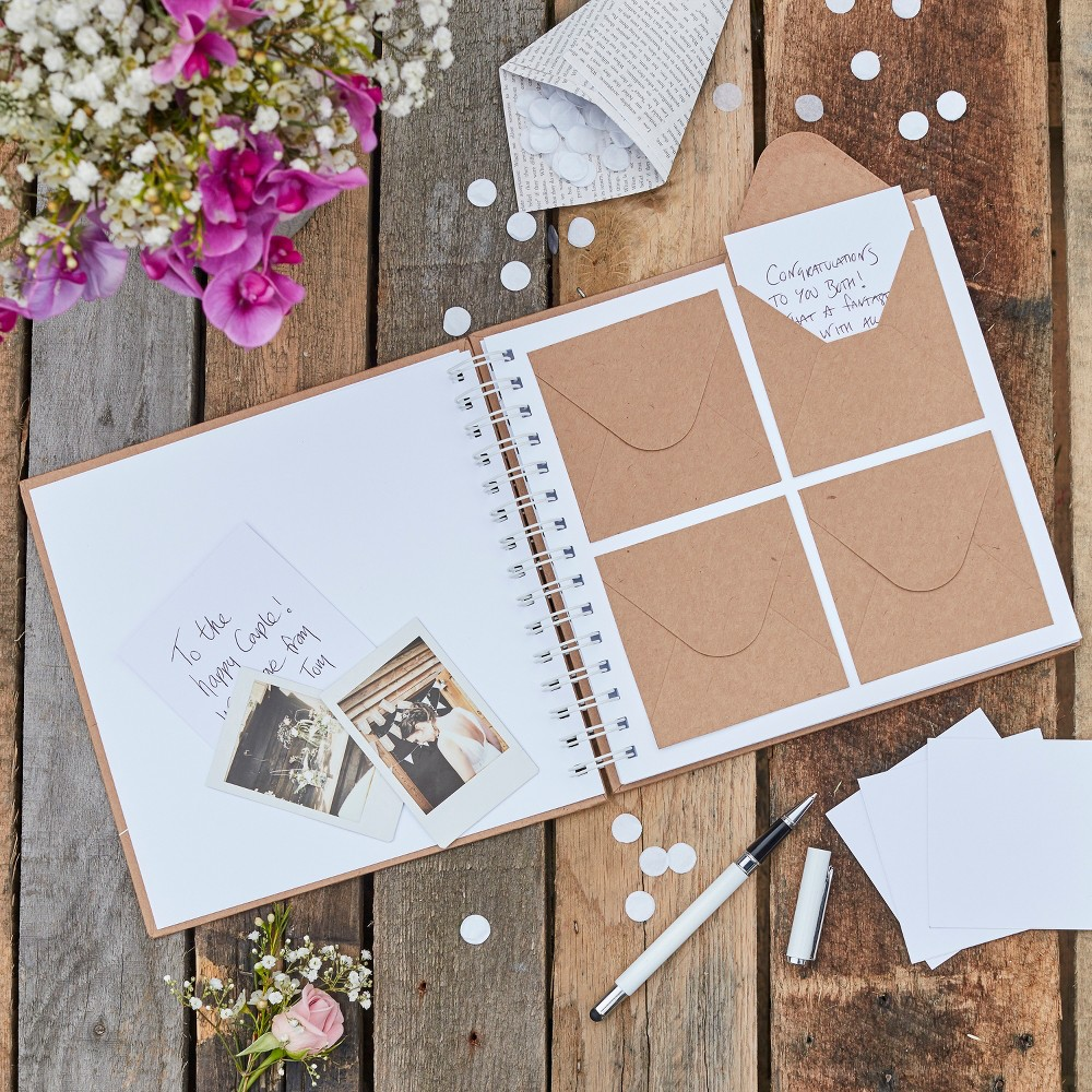 Image of Ginger Ray Guestbook Mini Envelope Brown And White