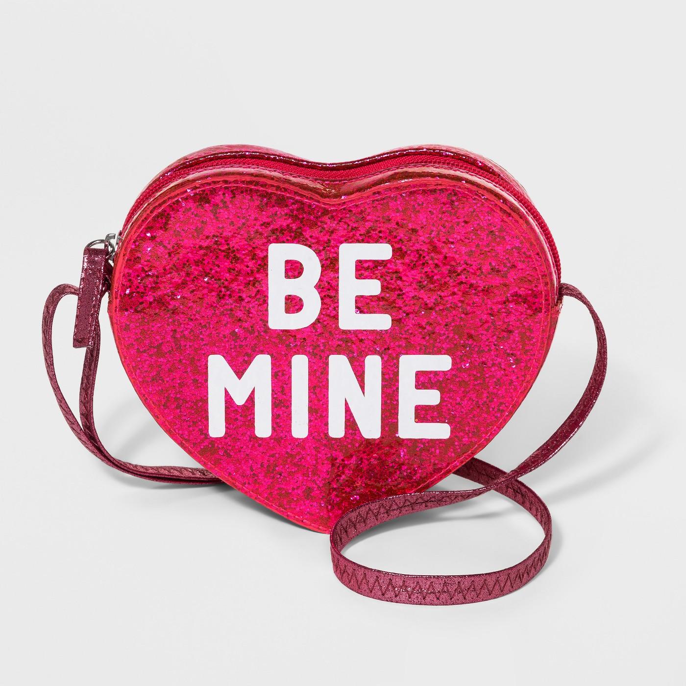 Girls' 'Be Mine' Heart Crossbody Bag - Cat & Jack™ Pink - image 1 of 1