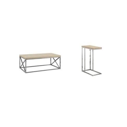 Monarch Natural Wood Look Chrome Designer Coffee Table Accent Side End Table Target