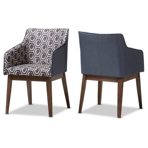 "Set of 2 Reece Mid - Century Modern Patterned Fabric Lounge Chair - Dark Blue, ""Walnut"" Brown - Baxton Studio - image 1 of 6"