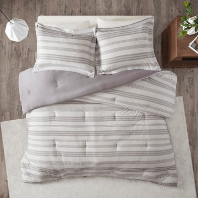 Mason Stripe Print Ultra Soft Cotton Blend Jersey Knit Comforter Set