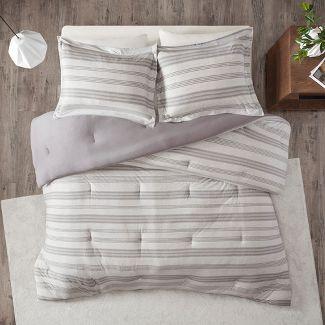 3pc King/Cal King Mason Stripe Print Knit Comforter Set Gray
