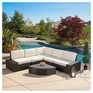 San Vicente 6pc Cast Aluminum Patio Sofa Set with Sunbrella Cushions- Brown - Christopher Knight Home