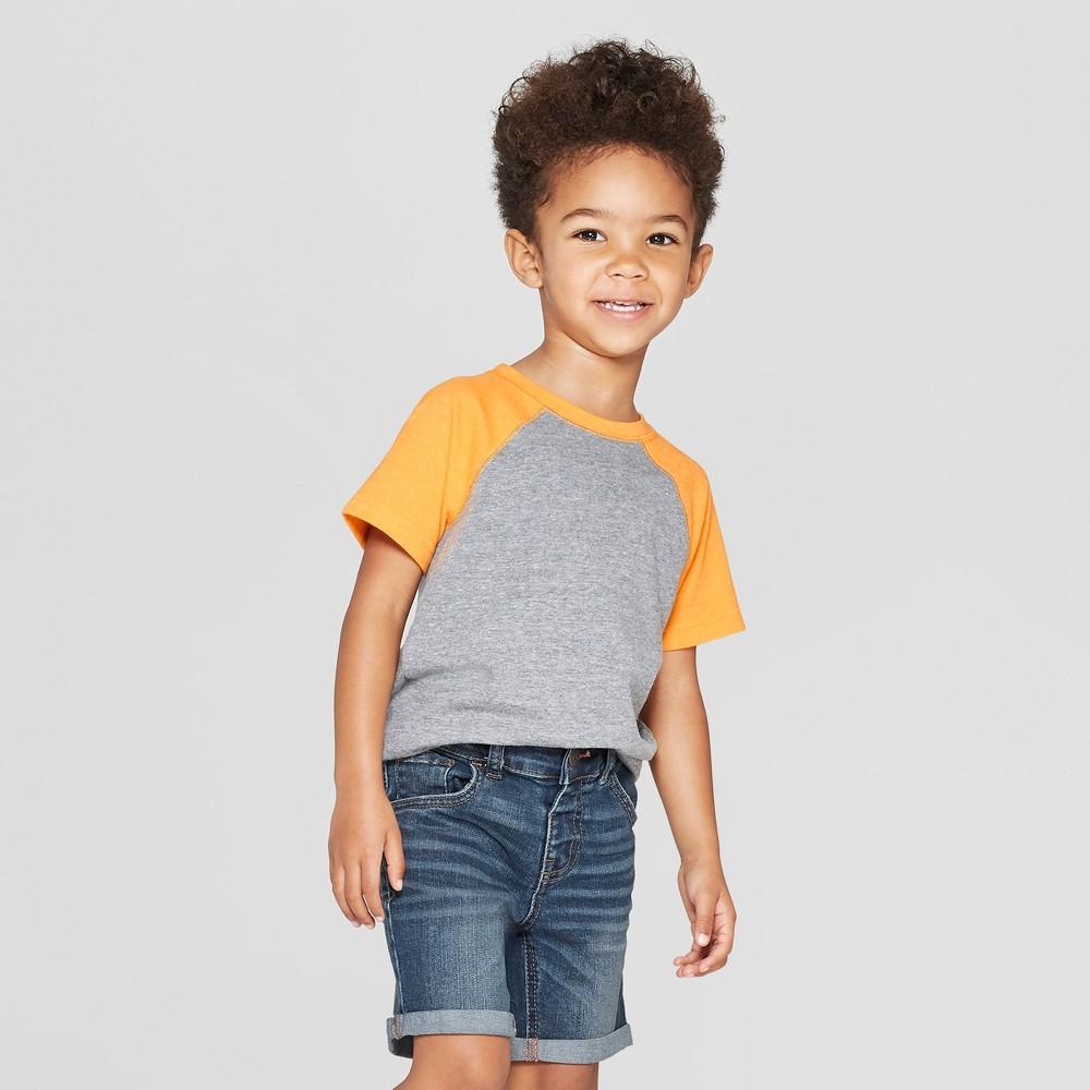 Toddler Boys' Raglan Short Sleeve T-Shirt - Cat & Jack Charcoal/Orange 18M, Gray