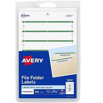 "Avery Laser/Inkjet File Folder Labels 2/3"" x 3 7/16"" Green 165829"