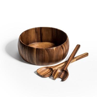 Kalmar Home 10-Inch Acacia Wood Large Dragor Salad Bowl with Servers