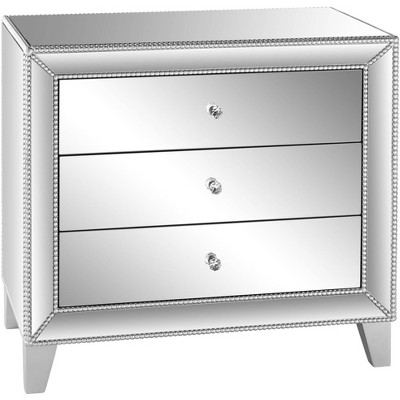 "Studio 55D Liza 30"" Wide Mirrored 3-Drawer Accent Table"