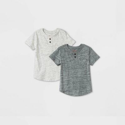 Toddler Boys' 2pk Henley Short Sleeve T-Shirt - Cat & Jack™ Gray/Cream