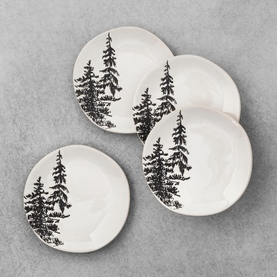 4pk Stoneware Appetizer Plate Trees White - Hearth & Hand™ with Magnolia