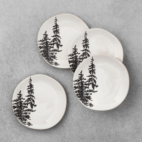 4pk Stoneware Appetizer Plate Trees White - Hearth & Hand™ with Magnolia - image 1 of 2