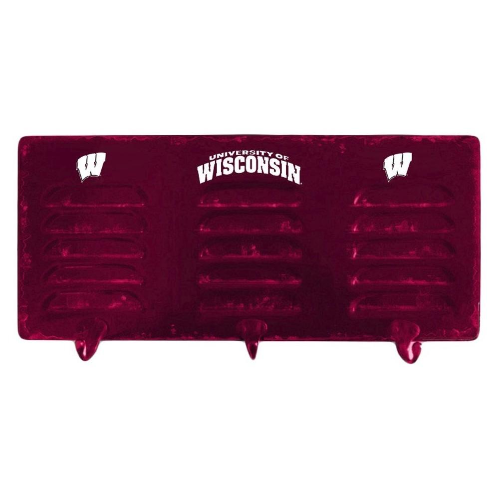 NCAA Imperial 3-Hook Metal Locker Coat Rack Wisconsin Badgers