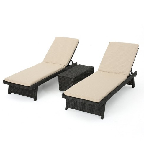 Marbella 3pc Wicker Chaise Lounge Set With Sunbrella Fabric Dark Brown Sand Christopher Knight Home Target