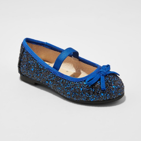 Toddler Girls' Cacey Glitter Ballet Flats - Cat & Jack™ Navy - image 1 of 3