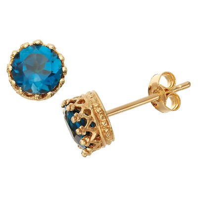 6mm Round-cut London Blue Topaz Crown Earrings in Gold Over Silver
